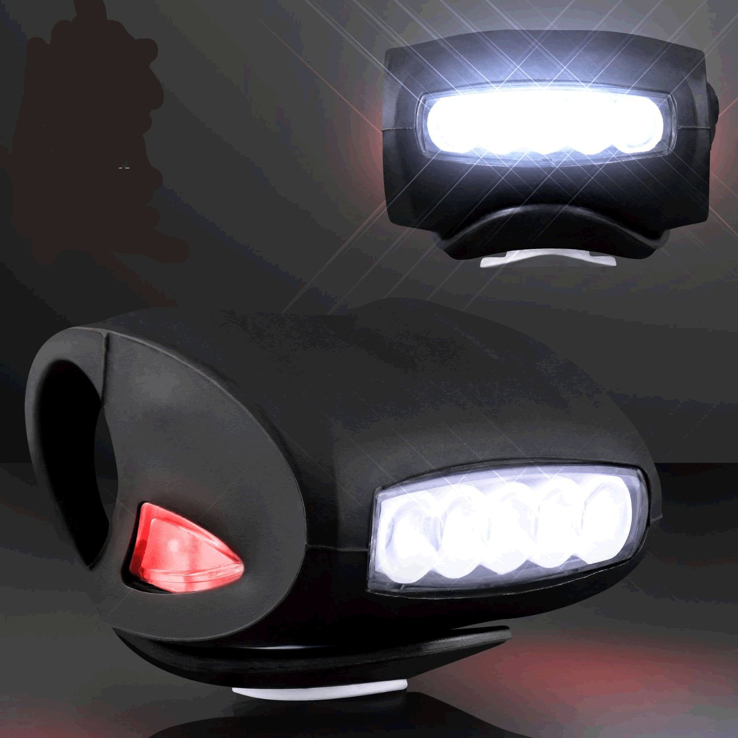 Black Bicycle Headlight with White and Red LEDs by Blinkee