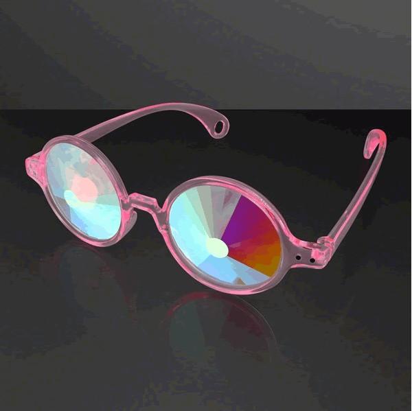 Clear Pink Frame Far Out Kaleidoscope Wheel of Wonder Lense GLASSES