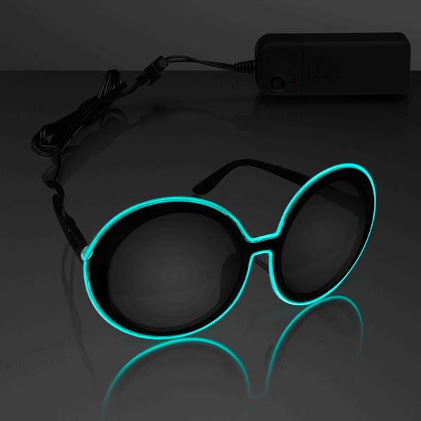 Electro Luminescent Classic Round SUNGLASSES Aqua by Blinkee