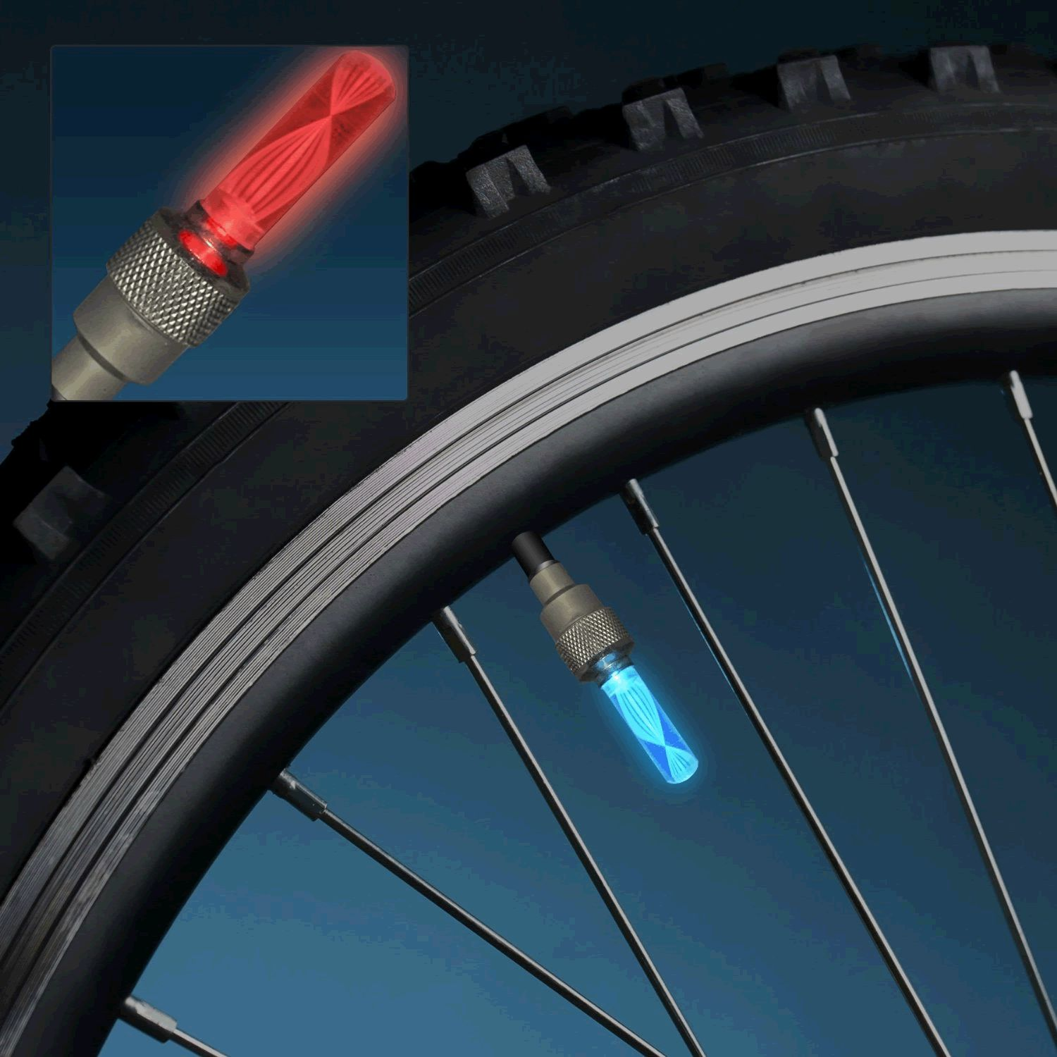 Flashing Valve LED Bicycle Tire Light Pairs by Blinkee