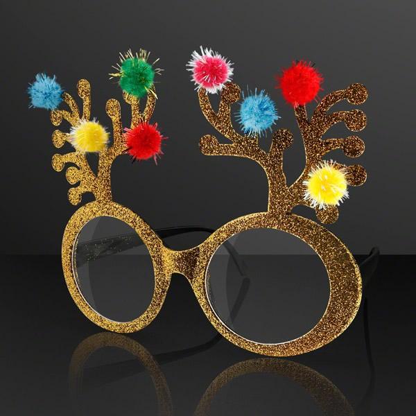 Gold Glitter Christmas Holiday Reindeer Antlers Animal GLASSES