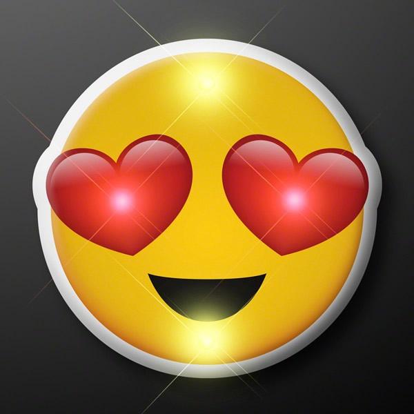 Heart Eyes Emoji Flashing Body Light Lapel Pins by Blinkee