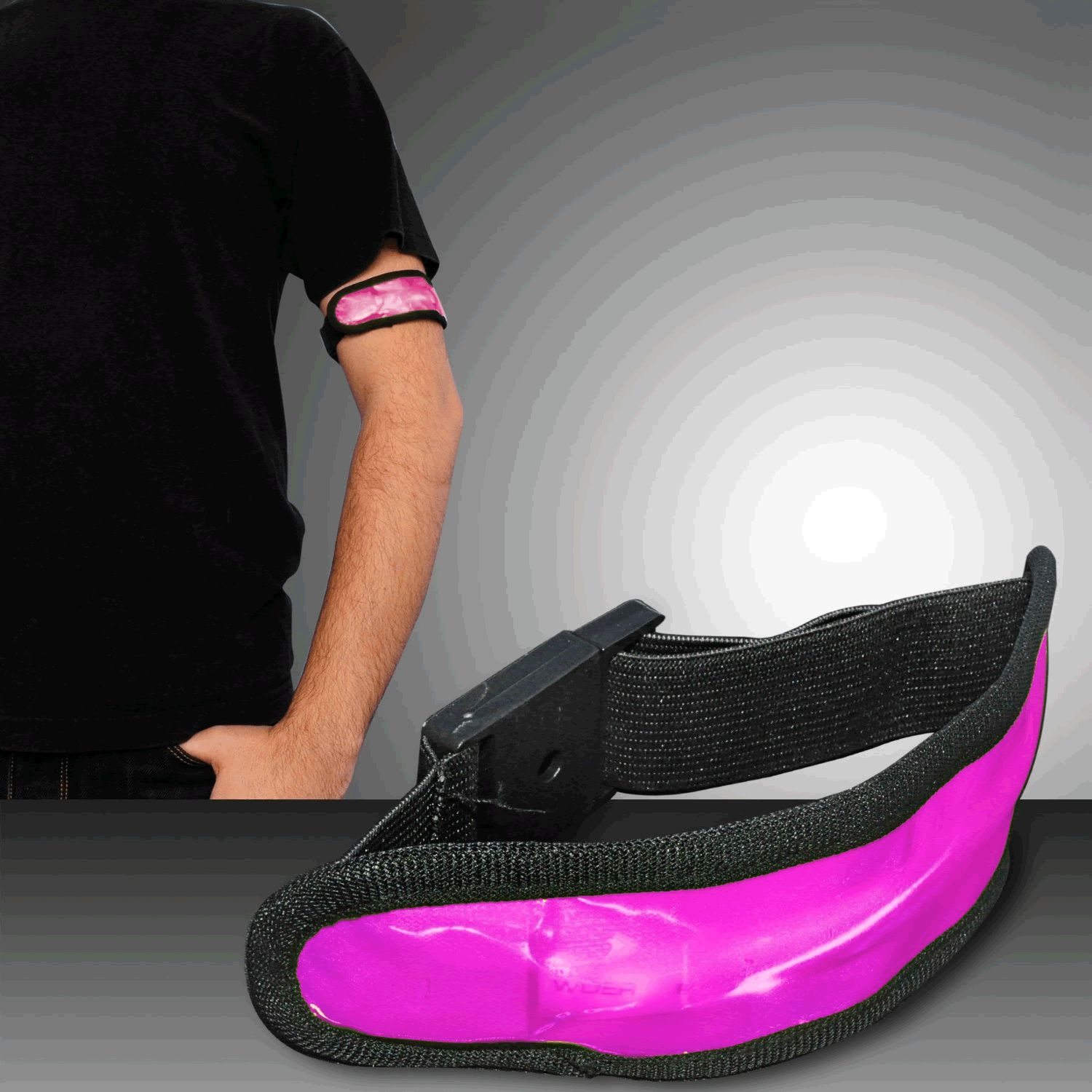 Jogging Bicycling LED Armband Pink by Blinkee
