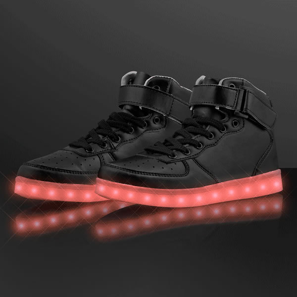 LED Flashing Multicolor Black Hightop SNEAKER Shoes Size Five and a Half