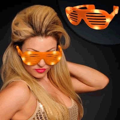 LED Hip Hop SUNGLASSES Orange by Blinkee