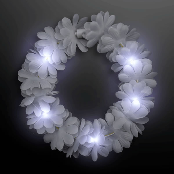 Light Up Flashing WEDDING White Flower Princess Angel Halo Crown Headband
