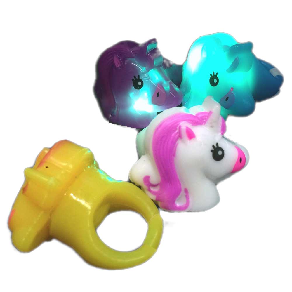 Assorted Light Up Fantasy Cute UNICORN Flashing Rings