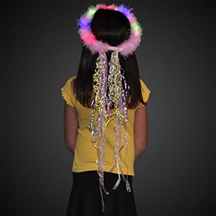 Multicolor LED Feather Ribbon Halo Princess Crown by Blinkee