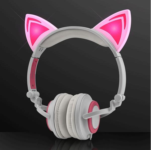 Pink LED Kitty Cat Animal Ears HEADPHONES by Blinkee