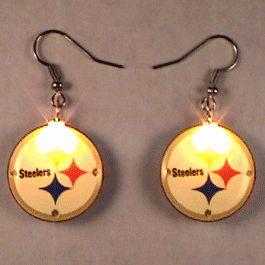 Pittsburgh STEELERS Pierced Flashing Earrings by Blinkee