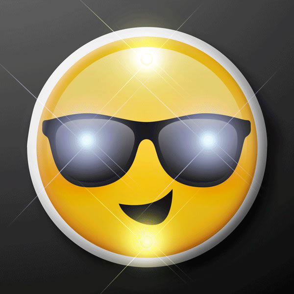 Smiling Cool Dude Sunny Days SUNGLASSES Emoji Flashing Body Light Lapel Pins by Blinkee