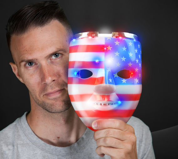 Light Up Classic American USA Flag Patriotic Skull Mask for 4th of July by Blinkee