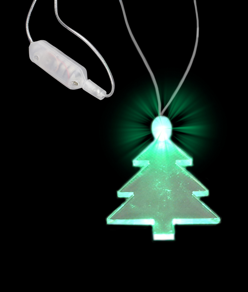 Green Light Up Christmas Tree Charm Pendant LED Necklace