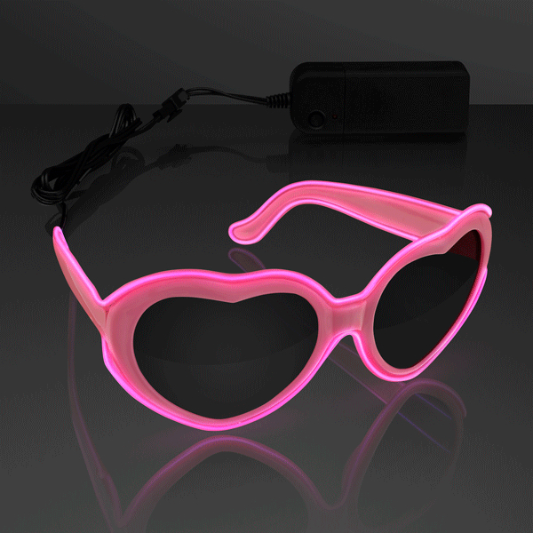 Stylish Heart-Shaped Glowing Pink EL Wire SUNGLASSES for Concerts by Blinkee