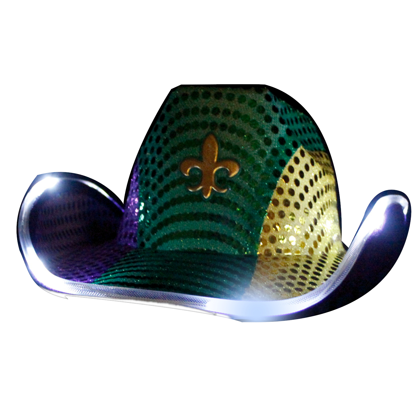Light Up Flashing Fleur De Lis Cowboy Hat