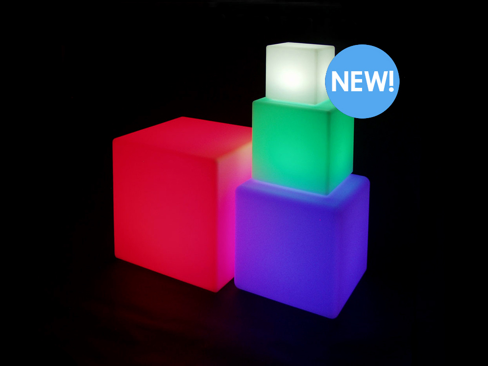 20 Inch Huge LED Color Changing Cube Light CHAIR Stool Table Furniture | Rainbow | Blinkee