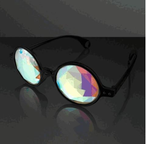 Black FRAME Far Out Kaleidoscope Diamond Lense Glasses | Blinkee