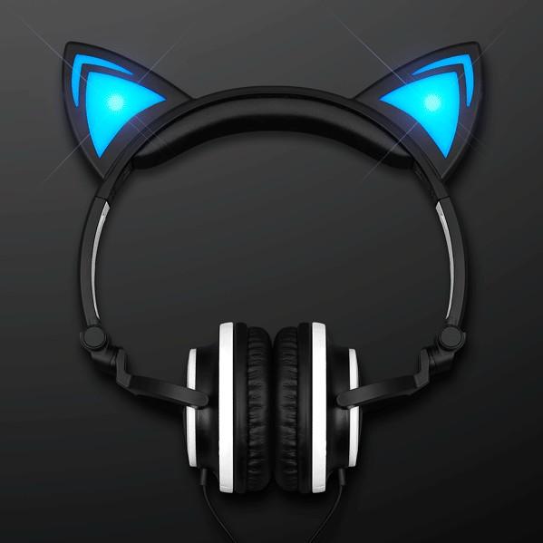 Blue LED Kitty Cat Animal Ears HEADPHONES   Blue/Black   Blinkee