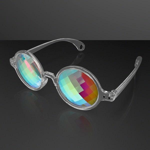 Clear FRAME Far Out Kaleidoscope Pixelated Lense Glasses | Blinkee