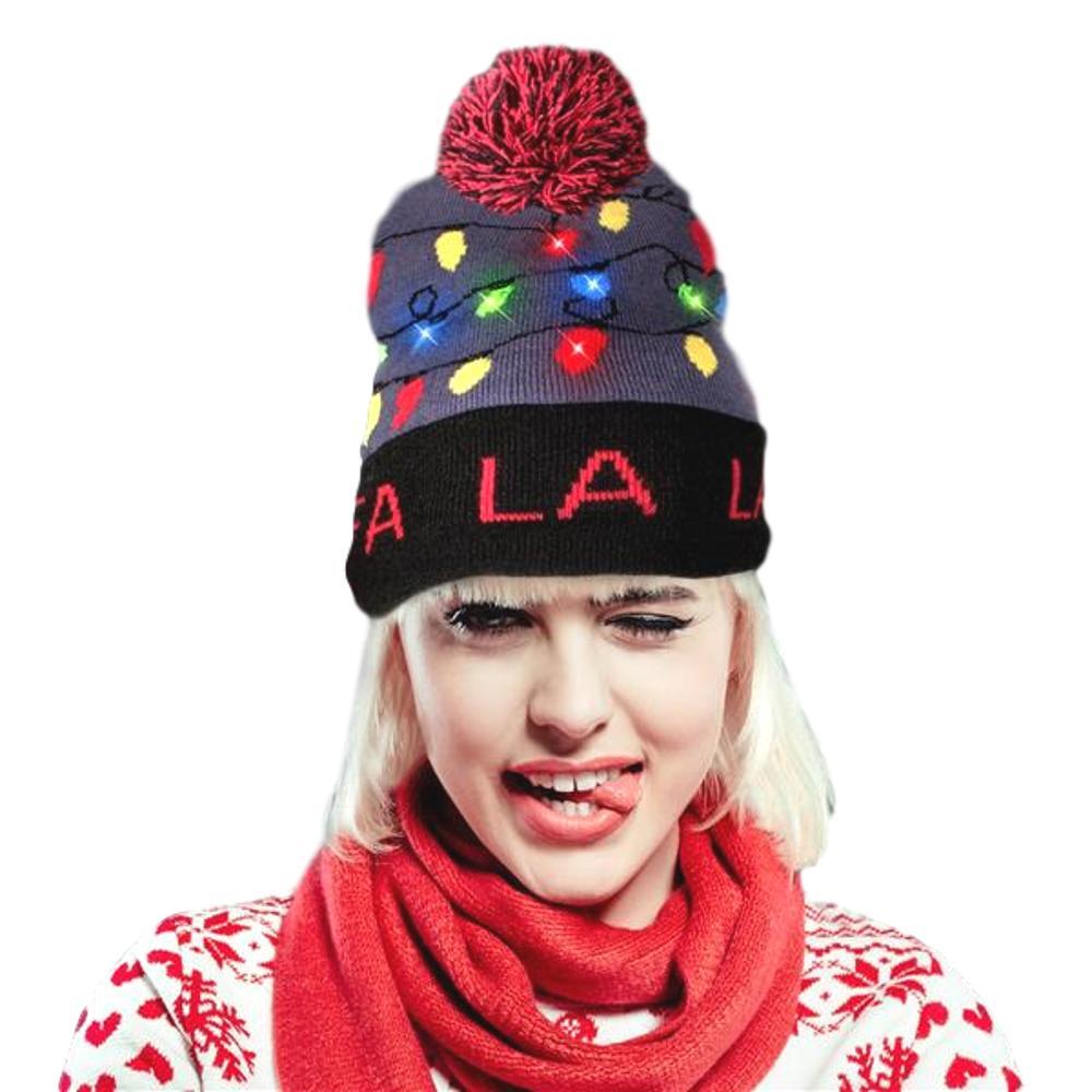 Light Up Fa La La Knit Red Black Pom Pom Beanie Hat   Red/Blue   Blinkee