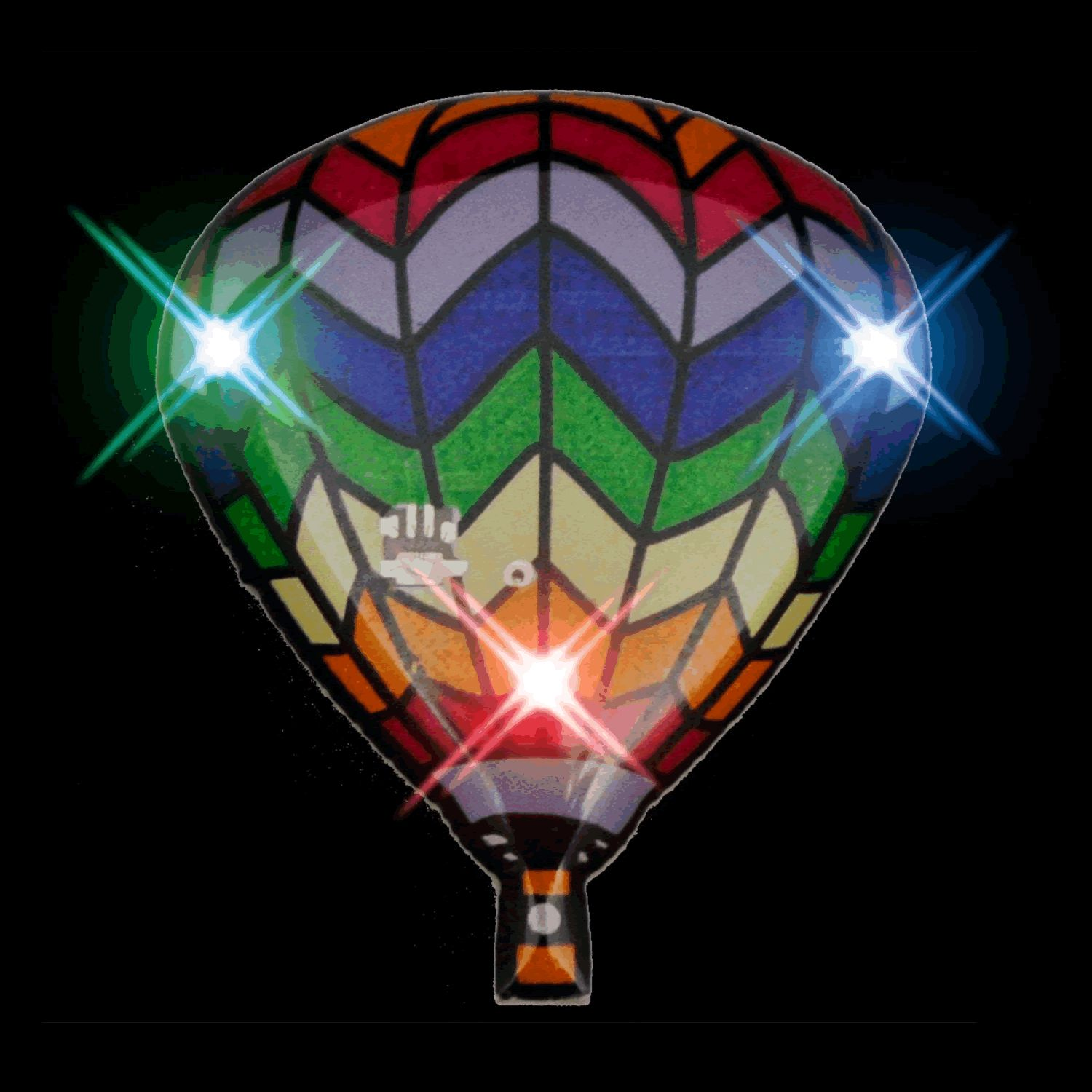 Hot Air BALLOON Flashing Body Light Lapel Pins | Rainbow | Blinkee