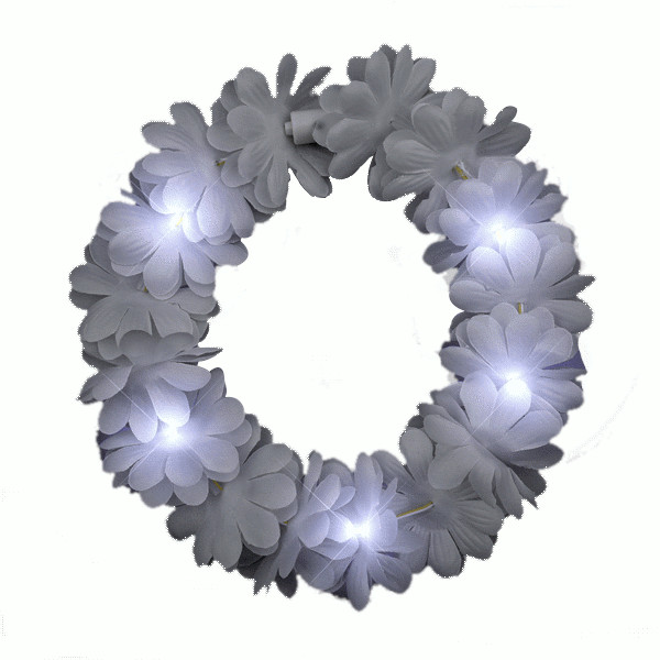 Light Up Flashing WEDDING White Flower Princess Angel Halo Crown Headband | Blinkee