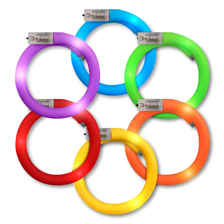 Assorted LED Rainbow Tube BRACELETs Pack of 12 | Green/Blue | Blinkee