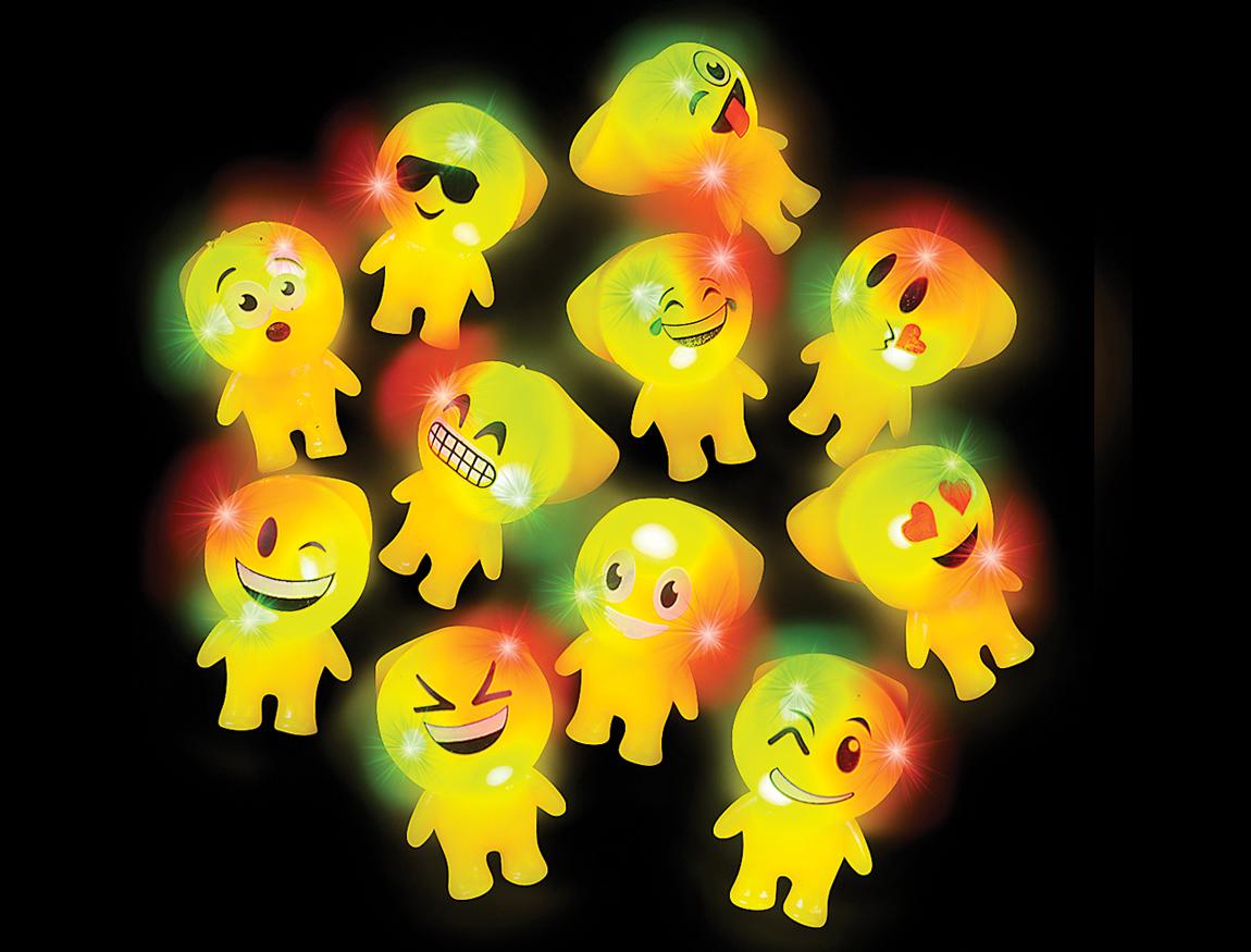 LED Emoji Light Up Rubber Finger RING Pack of 24 | Blinkee
