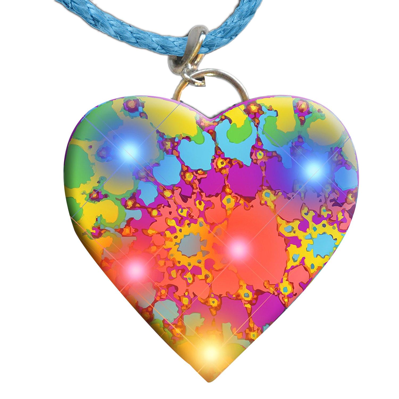 Tie Dye Heart Necklace Flashing Body Light Lapel Pins | Rainbow | Blinkee