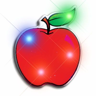 Red Apple Flashing Body Light Lapel Pins All Body Lights and Blinkees