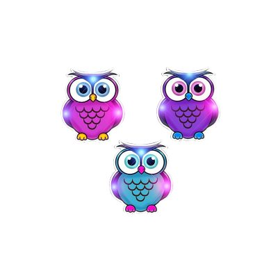 Owls in Assorted Colors Flashing Body Light Necklace Rainbow Multicolor