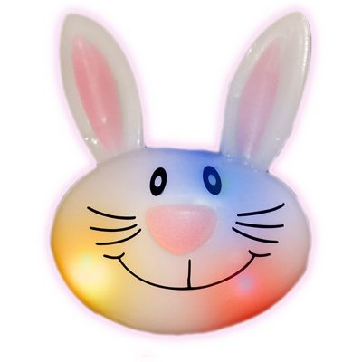Flashing LED Soft Bunny Rabbit Ring Assorted Rainbow Multicolor