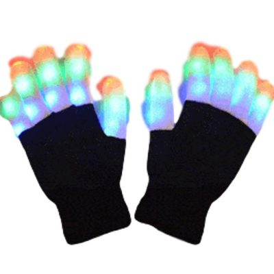 Black and White Gloves with Multicolor LED Fingers All Products