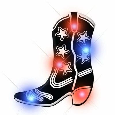 Black Cowboy Boot Flashing Body Light Lapel Pins All Body Lights and Blinkees