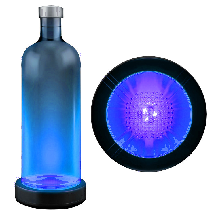Blue LED Switch Activated  Bottle Base Light Display Drink Coaster All Products