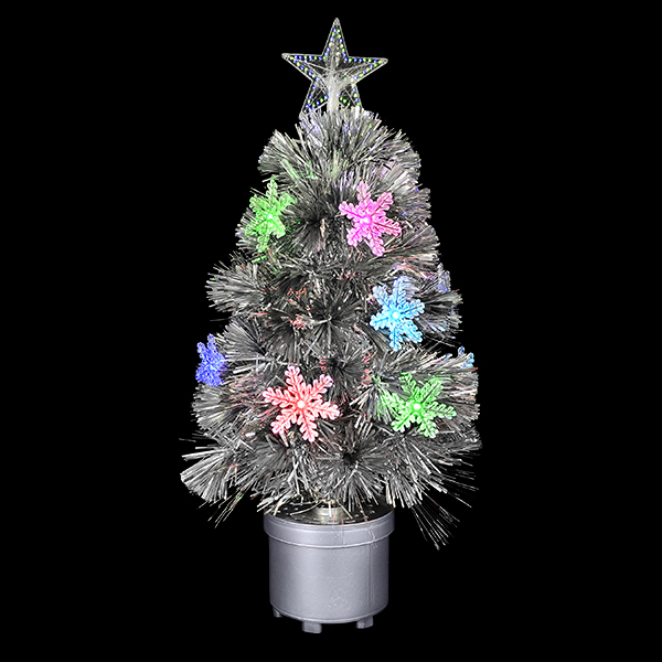 Silver Mini Christmas Tree With Color Changing Lights