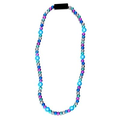 LED Bead Necklace Blue and Silver Silver