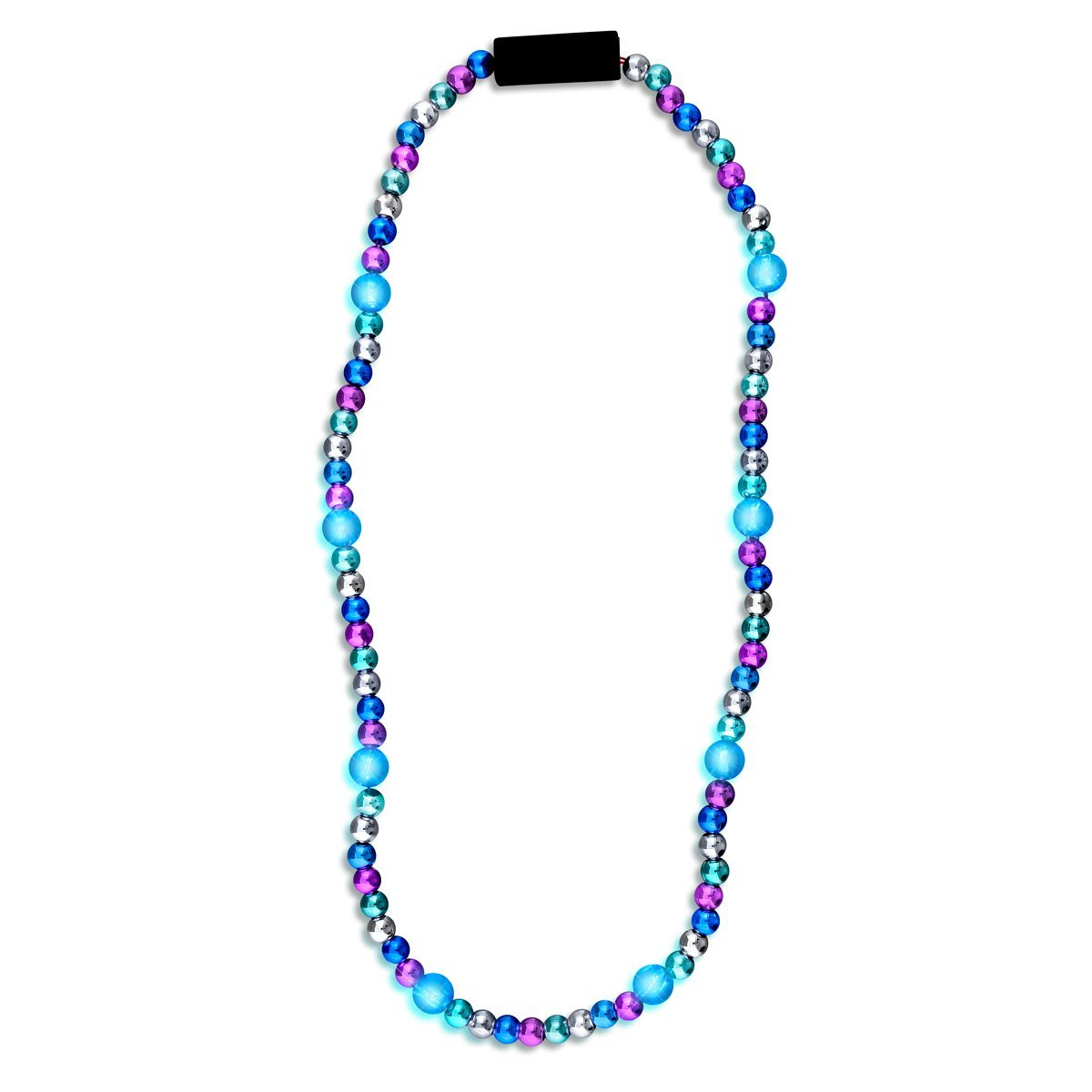 LED Bead Necklace Blue and Silver 4th of July