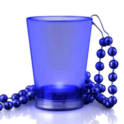 Light Up Blue Shot Glass on Blue Beaded Necklaces Blue