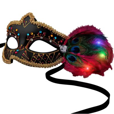 Black Mardi Gras Mask with LED Feathers All Products