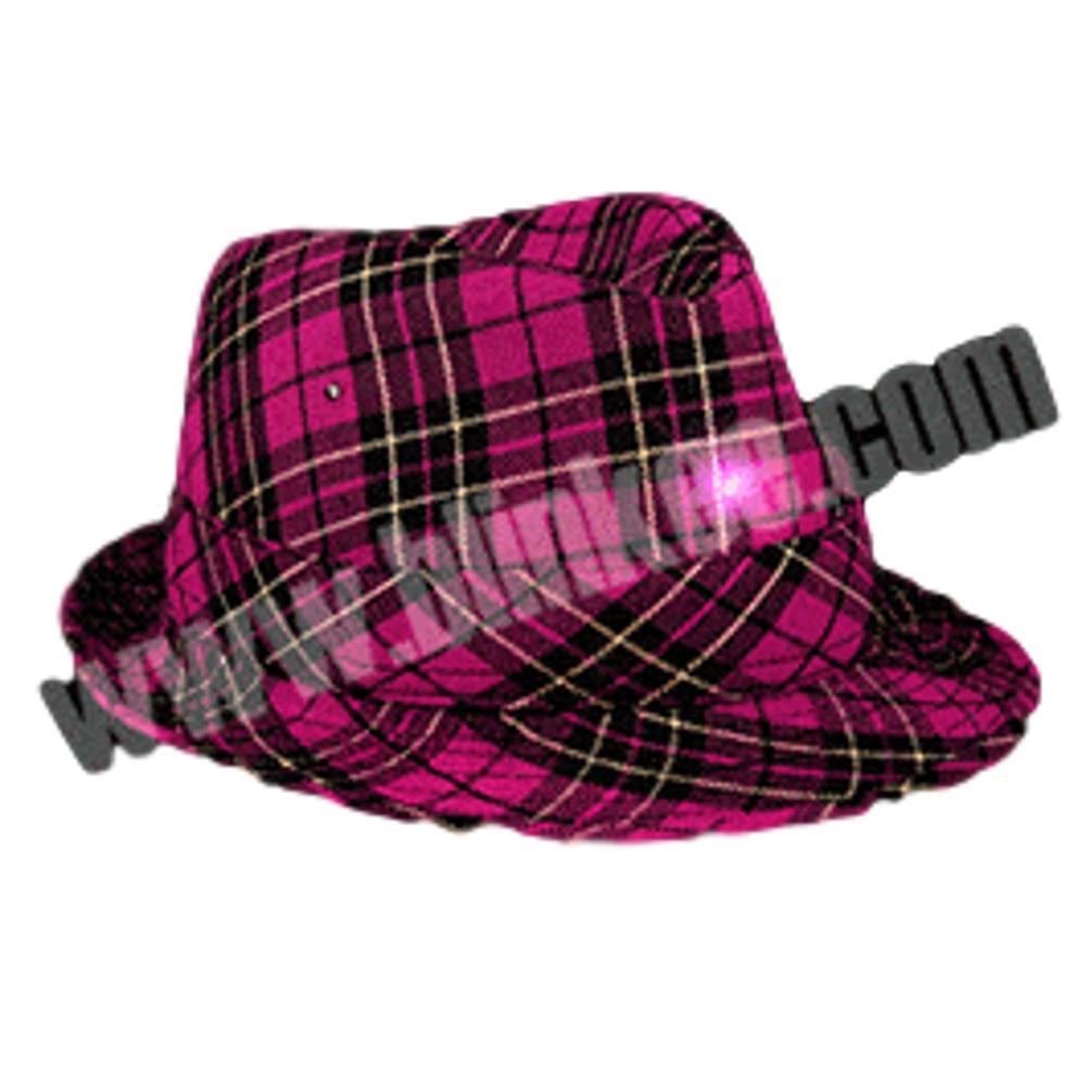 Light Up LED Flashing Plaid Fedora Hat All Products