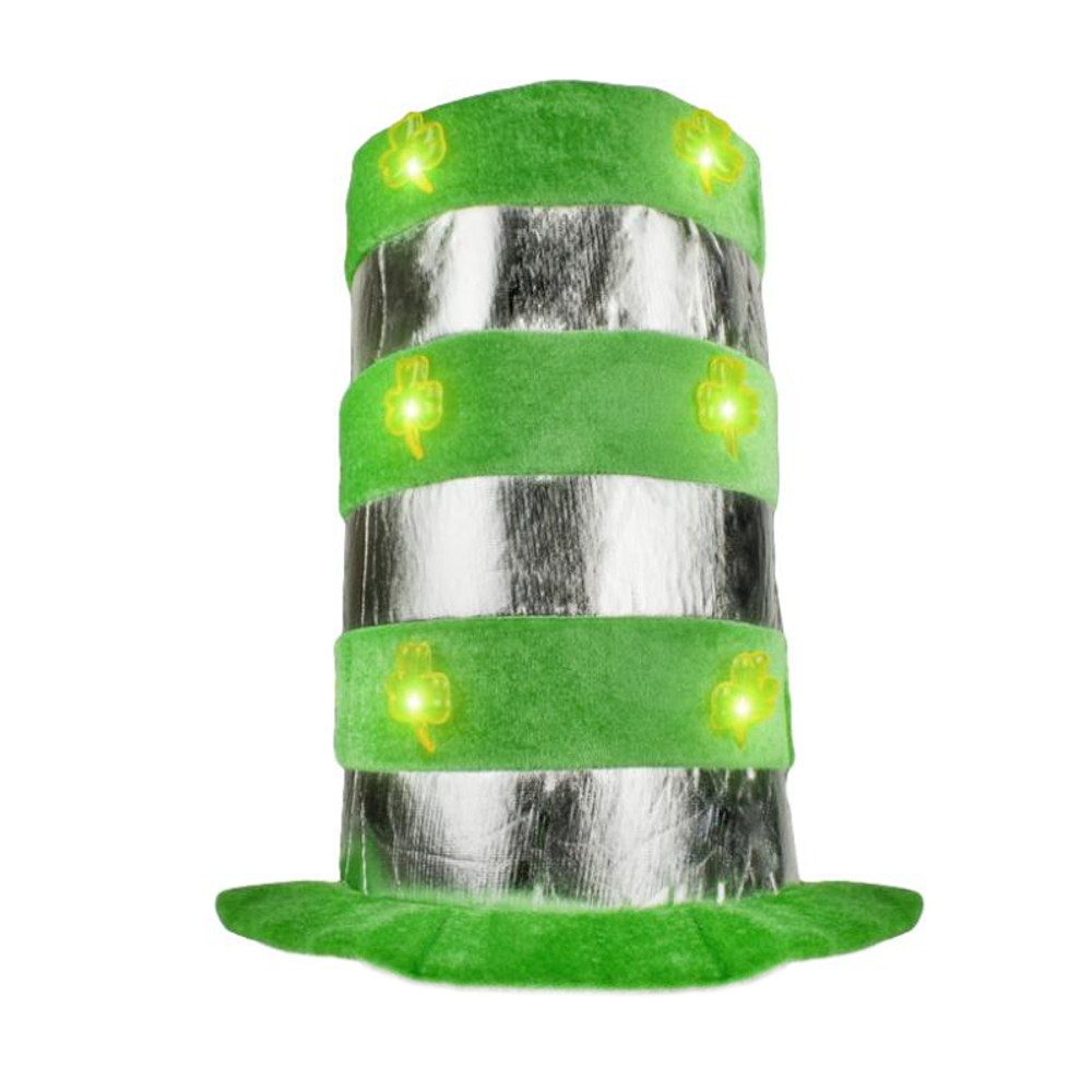 1 Dozen Light Up Shamrock Tall Top Hats All Products