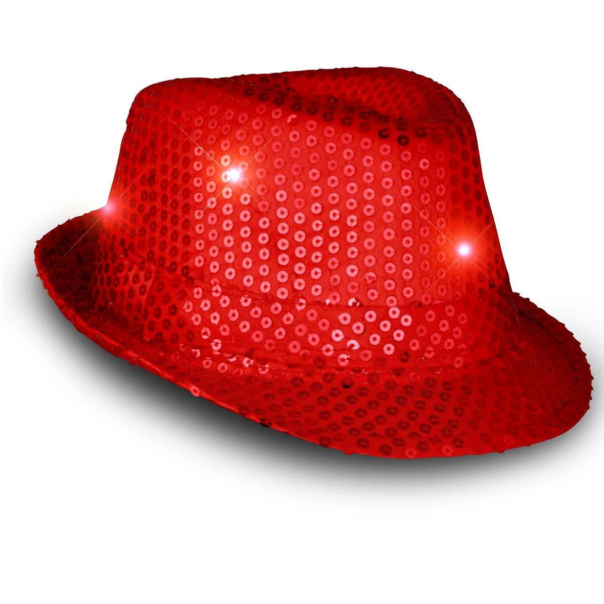 Light Up LED Flashing Fedora Hat with Red Sequins All Products