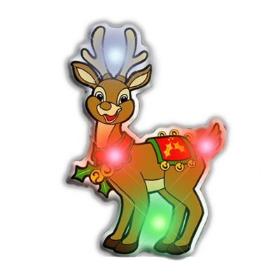 Rudolph the Reindeer Flashing Blnky Body Light Lapel Pins Christmas Flashing Blinky Light Lapel Pins