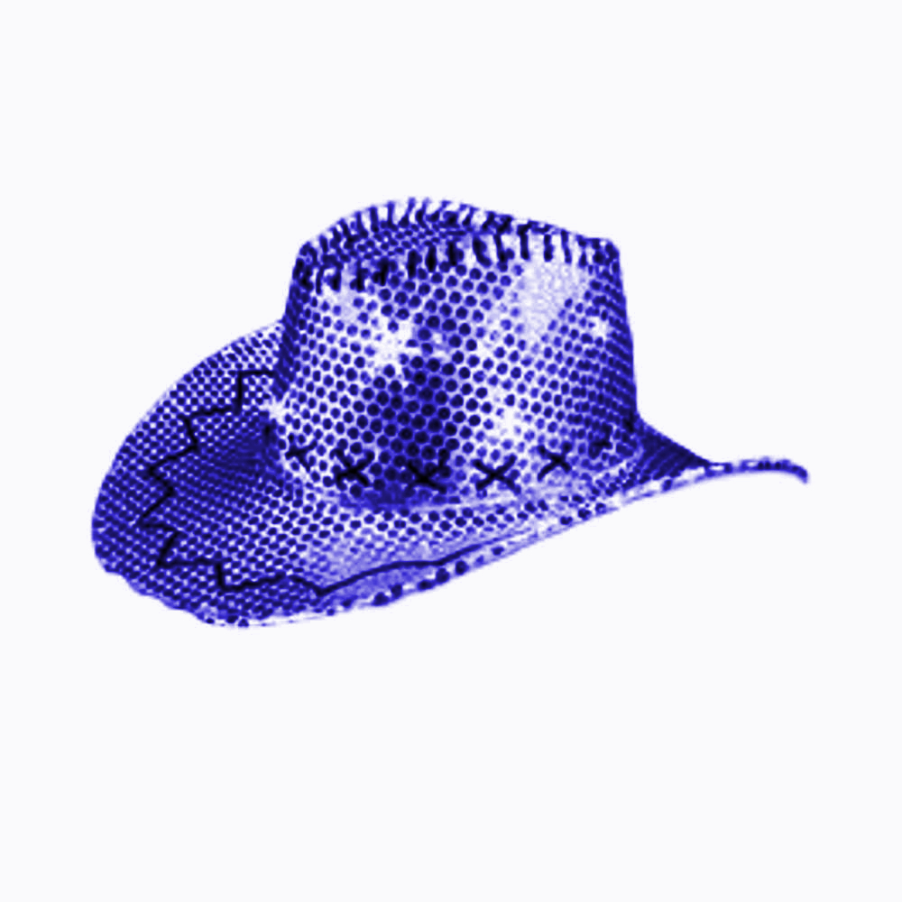 LED Sequin Cowboy Hat with Fancy Stitching Blue All Products