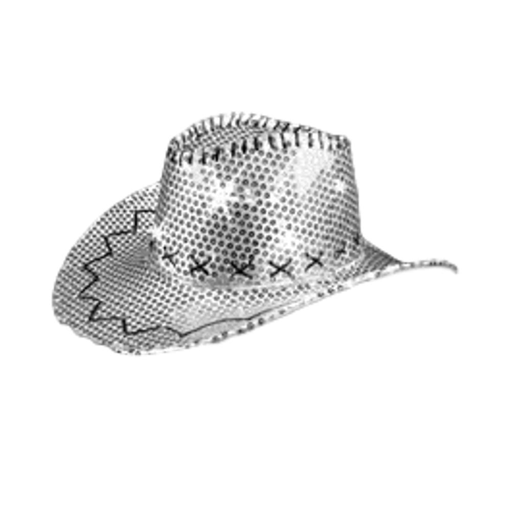 LED Sequin Cowboy Hat with Fancy Stitching Silver All Products
