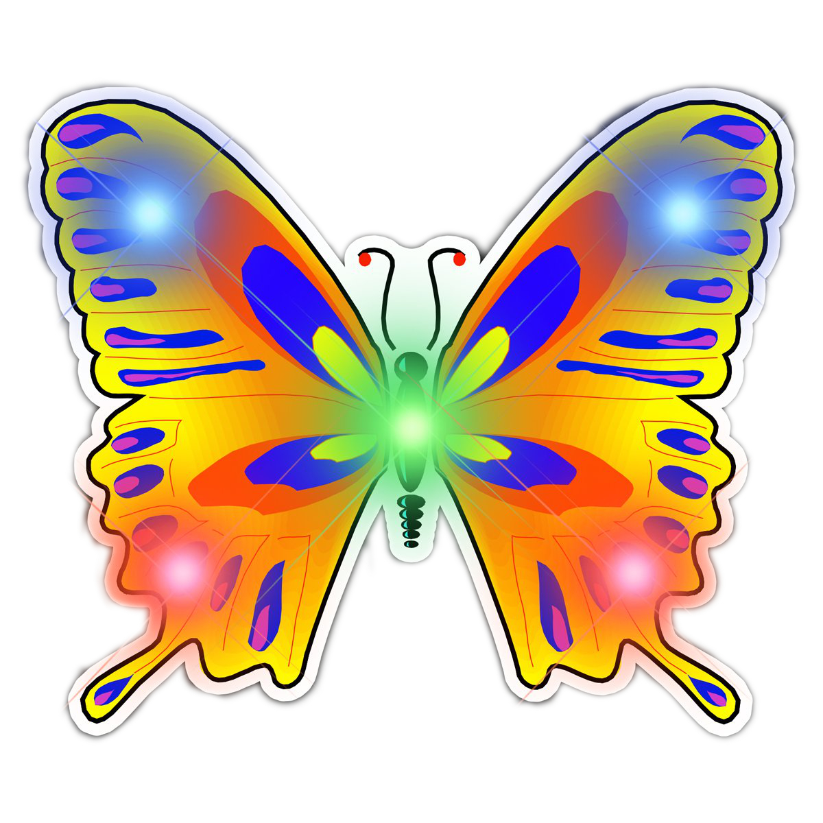 Mood Butterfly Flashing Body Light Lapel Pins All Body Lights and Blinkees