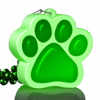 Light Up Green Paw Print Charm Necklace All Products