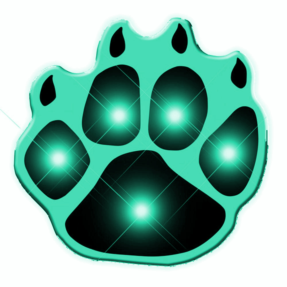 Green Pawprint Flashing Body Light Lapel Pins All Body Lights and Blinkees