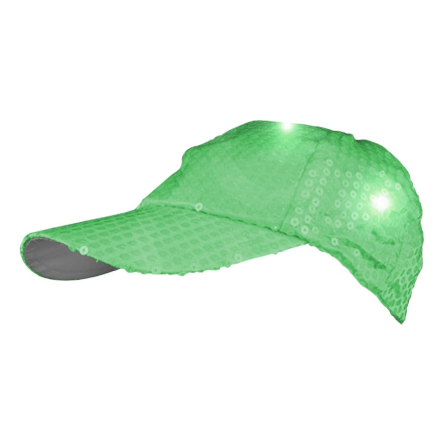LED Sequined Baseball Hat Green All Products